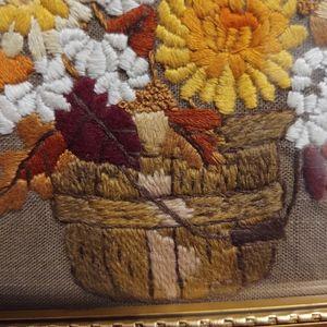 Vintage Wall Art - Vintage framed hand stitched crewel floral art emb